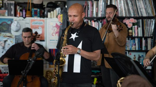 Miguel Zenón feat. Spektral Quartet performs a Tiny Desk on Nov. 6, 2018 (Heather Kim/NPR).
