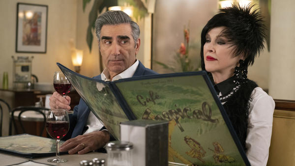 Johnny (Eugene Levy) and Moira (Catherine O'Hara) get some things to crow about in season 5 of <em>Schitt's Creek</em>.
