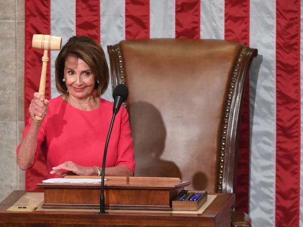 Speaker of the House Nancy Pelosi, D-Calif., holds the gavel after being sworn in on Thursday.