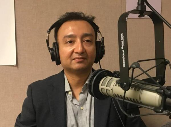 USF Muma College of Business marketing professor Dipayan Biswas talks in the WUSF studios in 2018.