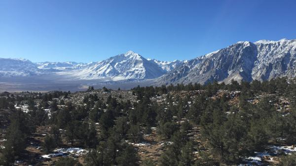 The Eastern Sierra mountains near Mammoth Lakes, Calif. The town is surrounded by U.S. Forest Service and Bureau of Land Management land and, with the government shutdown, 'the landlords are absent.'