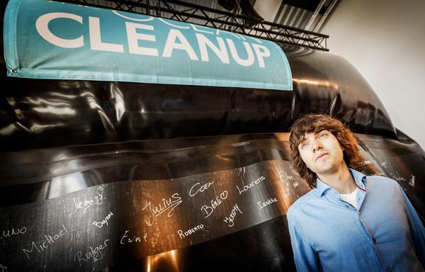 Inventor Boyan Slat presented a prototype of The Ocean Cleanup project on June 22, 2016.