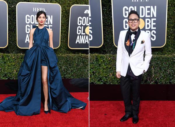 Gemma Chan, left, and Nico Santos, right