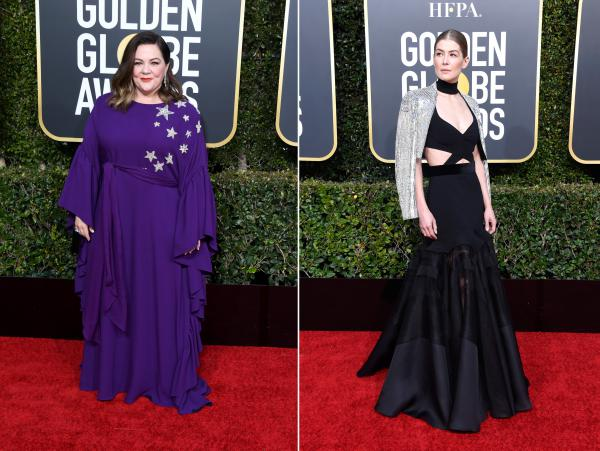 Melissa McCarthy, left, and Rosamund Pike, right