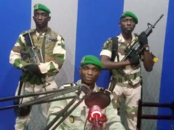A still image taken from a video posted Monday shows a military officer who identified himself as Lt. Kelly Ondo Obiang giving a statement from a radio station in Libreville, Gabon. In it, he urged citizens to take control of the streets to support a coup.