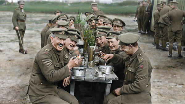 Peter Jackson restores archival footage of British soldiers enjoying a meal in the documentary <em>They Shall Not Grow Old</em>.