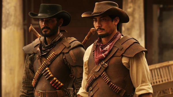 "L to R: Jamar (Ario Bayu) and Suwo (Yoshi Sudarso) star in the ""nasi goreng Western"" <em>Buffalo Boys.</em>"