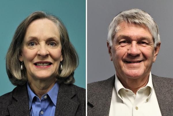 Both Karin Brownlee, left, and Bob Johnson have previously served in their respective state legislatures. Johnson now serves as District 4 councilman in Lee's Summit, Missouri. Brownlee is an at-large member of the City Council of Olathe, Kansas.