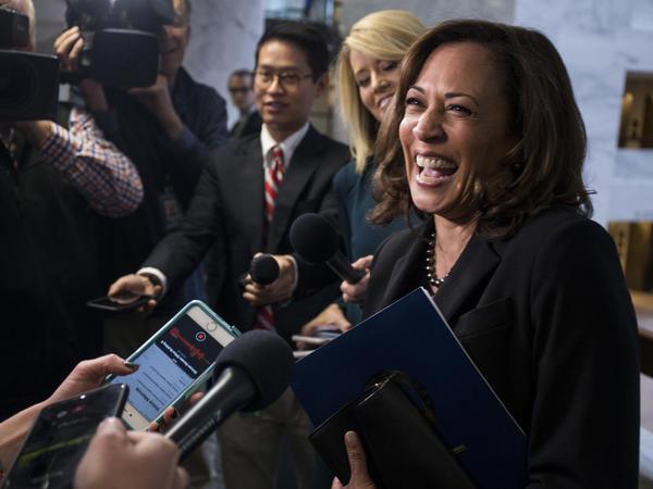 "Of a possible 2020 presidential bid, Democratic Sen. Kamala Harris told NPR: ""I will keep you posted."""