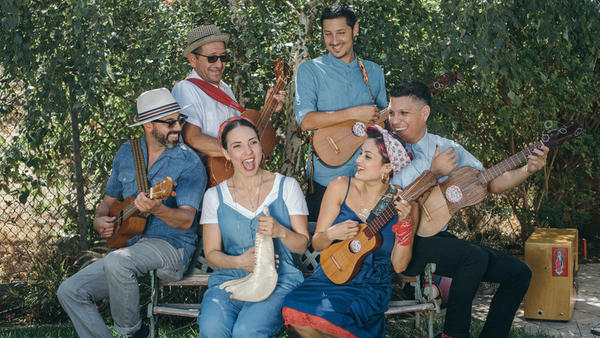 "Members of Las Cafeteras perform an updated version of ""La Bamba."""