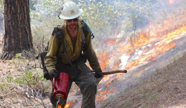 <p>A member of the Wolf Creek Hotshots uses a drip torch to ignite the forest floor during a prescribed burn near Sisters, Oregon.</p>