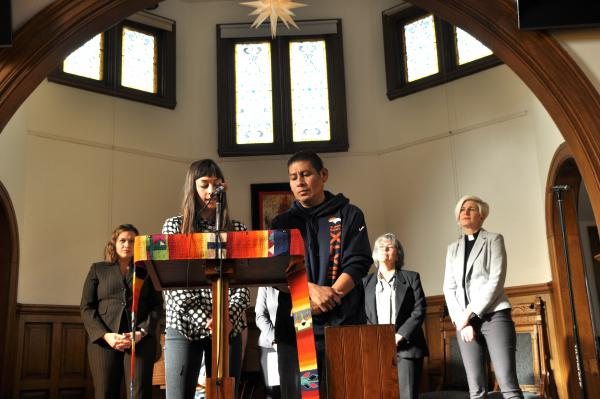 Miguel Ramirez Valiente (right), an immigrant from El Salvador, is living at All Souls Unitarian Universalist Church in Colorado Springs, claiming sanctuary from a deportation order.