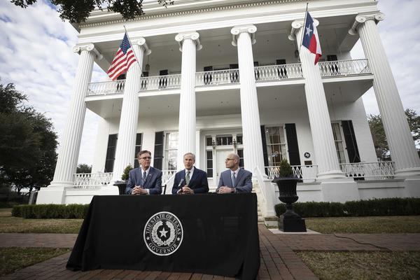 """At a news conference outside the Governor's Mansion on Wednesday, Lt. Gov. Dan Patrick, Gov. Greg Abbott and House Speaker Dennis Bonnen said they'd work together on a """"bold agenda"""" this legislative session."""
