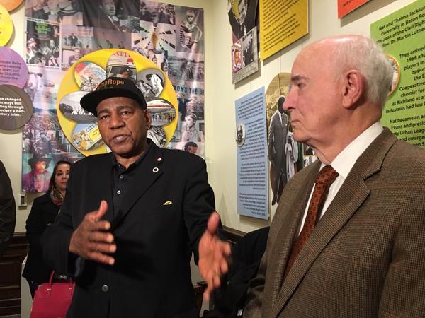 Nat Jackson, the sponsor of I-1000, appears at a news conference with former Gov. Dan Evans