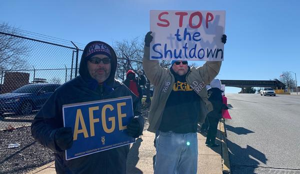 Protesters gathered in front of the USDA Rural Development building on Goodfelow Boulevard on Jan. 9 to protest the government shutdown.