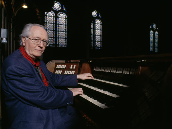 Composer Olivier Messiaen in 1983, at the organ at the Trinité church in Paris where he held the post of organist for over 60 years.