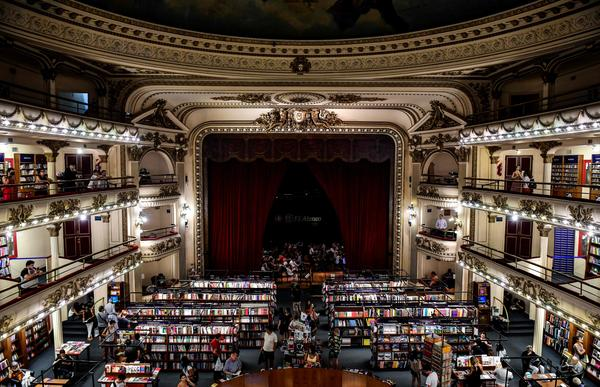 "When the Gran Splendid Theater in Buenos Aires was converted into a branch of the Ateneo bookstore, the stage became a cafe. It was just named ""the world's most beautiful bookstore"" by <em>National Geographic</em>."