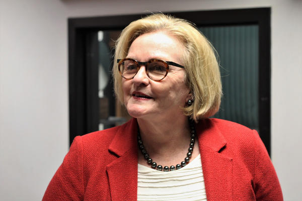 Former Missouri Sen. Claire McCaskill is pictured after an October interview at KCUR.
