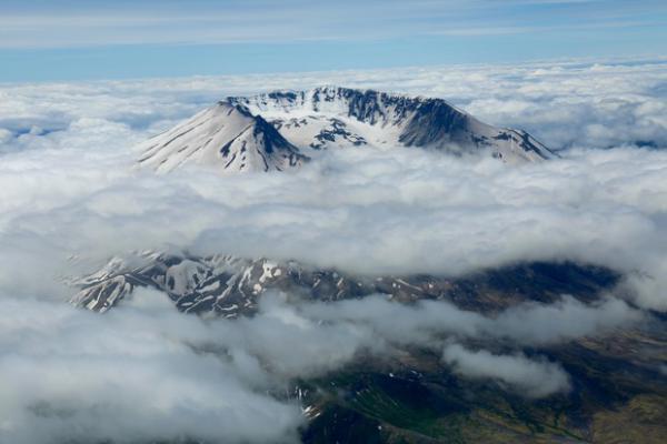 <p>Mount St. Helens peeking through the clouds.</p>
