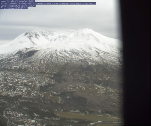 <p>A Jan. 11, 2019, screenshot shows one of the Forest Service's Mount St. Helens webcamsout of focus after rough weather. The other has been offline since mid-December.</p>