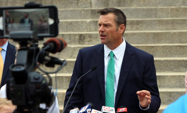 Kansas Secretary of State Kris Kobach relied mostly on loans from his running mate Wink Hartman during his 2018 run for governor.