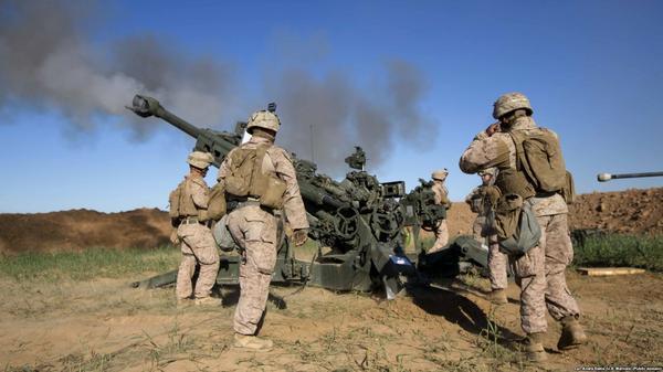 U.S. Marines firing on ISIS targets