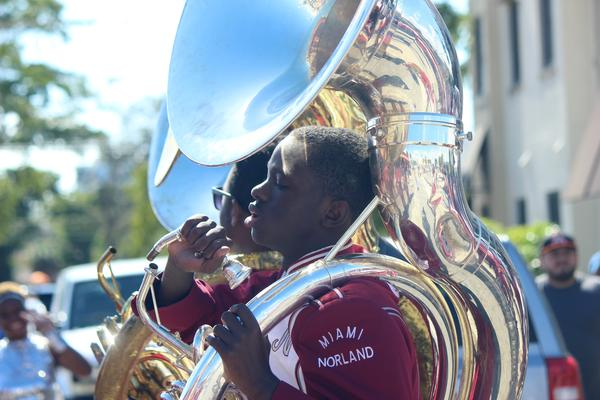 The Miami Norland Senior High School Marching Band prepares for the Calle Ocho Three Kings Day Parade on Sunday, Jan. 13, 2019.