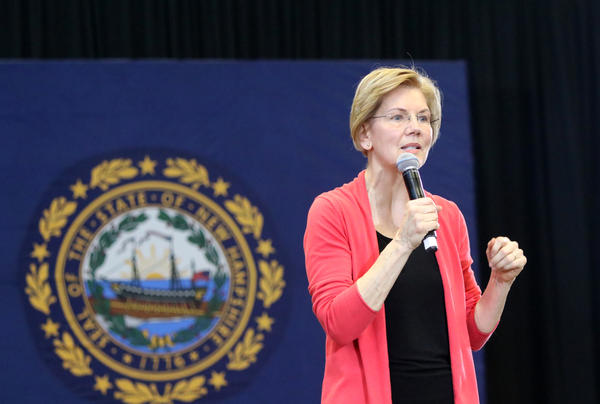 U.S. Sen. Elizabeth Warren, D-Mass., spoke at Manchester Community College during her first presidential campaign swings in the first-in-the-nation primary state.