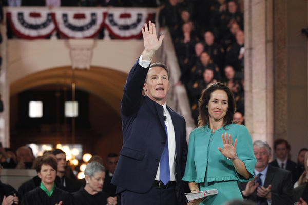 Lt. Gov. Jon Husted and Tina Husted wave to supporters.