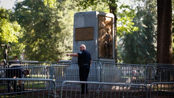 """In August 2018, law enforcement officials set up a perimeter around the platform that """"Silent Sam,"""" a statue erected to honor Confederate dead, was toppled from."""