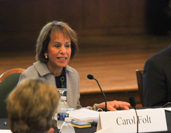File photo of UNC Chancellor Carol Folt, who announced her resignation at the end of the 2019 academic year.