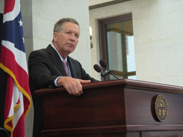 In this file photo, Gov. John Kasich speaks at a Statehouse event in 2017.
