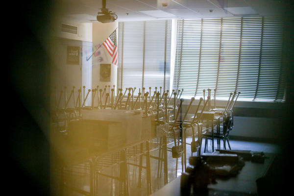 Classrooms at Vista Middle School sit empty on the second day of the Los Angeles teacher strike.