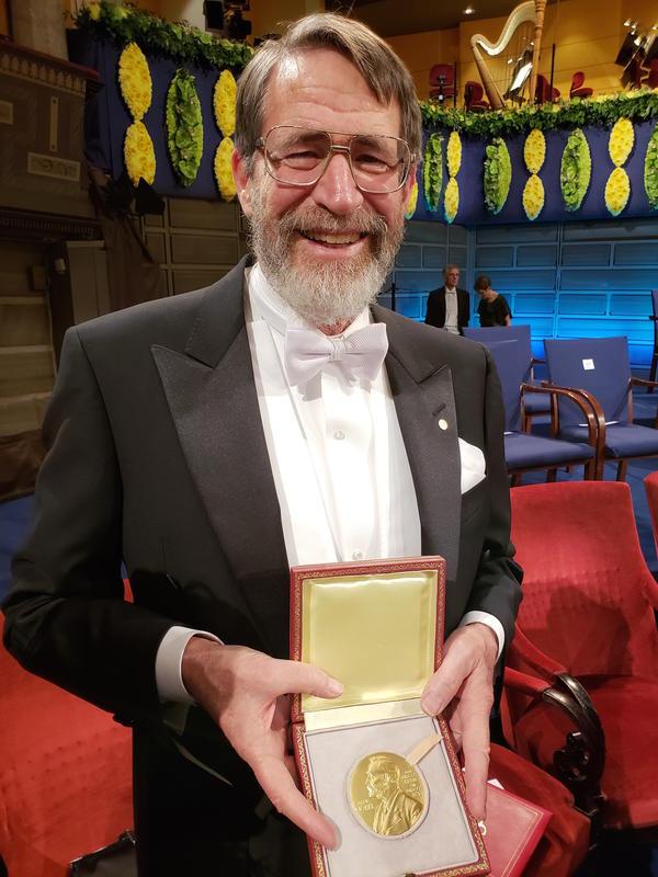 Dr. George Smith displays his Nobel Prize on December 10, 2018 in Stockholm, Sweden