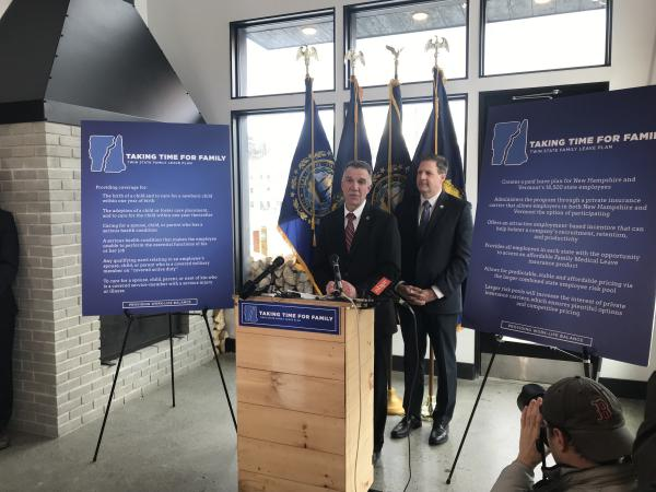 Vermont Gov. Phil Scott, left, joins New Hampshire Gov. Chris Sununu to announced their joint paid family medical leave plan at Schilling Beer Co. in Littleton, N.H., on Wednesday.