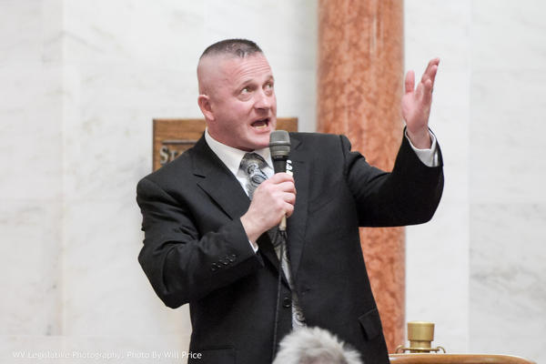 Sen. Richard Ojeda stands on the floor of the West Virginia Senate on Feb. 15, 2018.