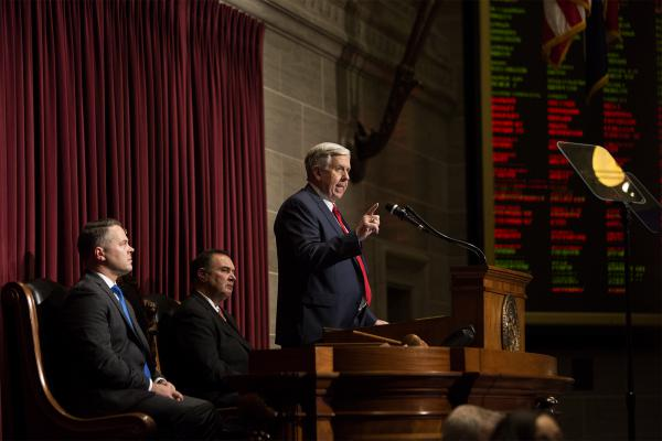 Missouri Gov. Mike Parson delivers his first State of the State address at the Missouri State Capitol building Wednesday afternoon.