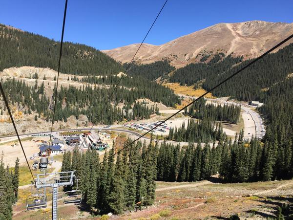 The ski lift operating at Arapahoe Basin Ski Area in September