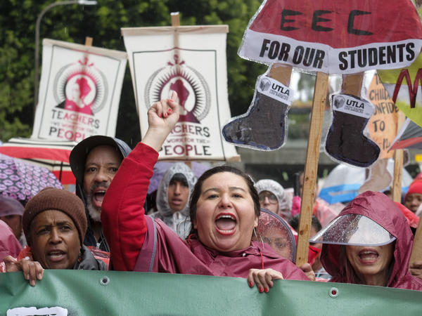 Teachers and supporters rally on Monday, Jan. 14, the first day of the teachers strike in Los Angeles. The school district and the union have come to a deal after almost two years of negotiations.