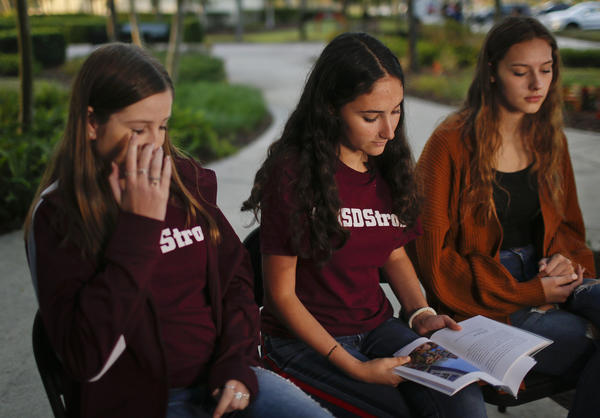 Brianna Fisher, 16, left, Leni Steinhardt, 16, center, and Brianna Jesionowski talk about the experience of writing the book about surviving the shooting at Marjory Stoneman Douglas High.