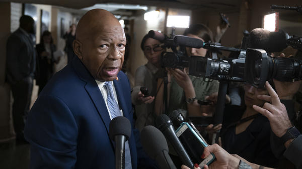 House Oversight Committee Chairman Elijah Cummings talks with reporters at the capital. The Maryland Democrat has launched an investigation into the White House security clearance process.