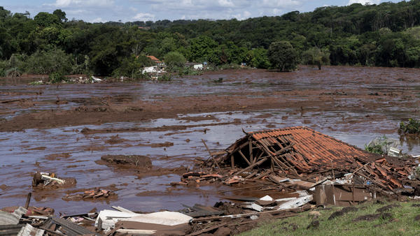 A home lies in ruins after a dam collapsed near Brumadinho, Brazil, on Friday.