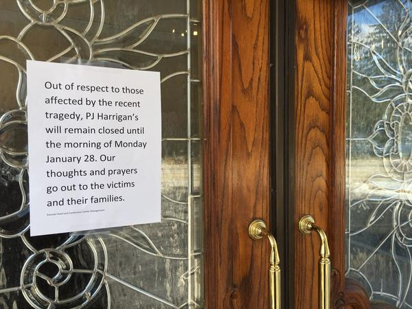 A sign on the door of P.J. Harrigan's says it will remain closed until Monday.