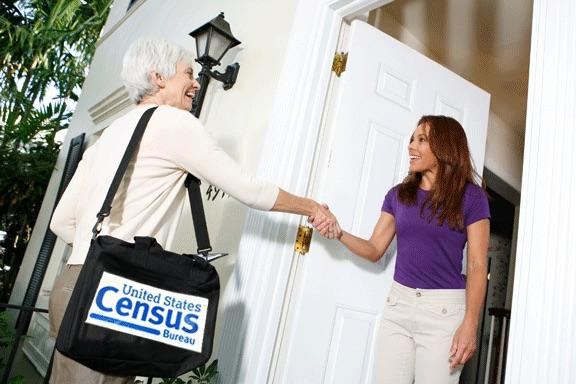 A census taker going door-to-door
