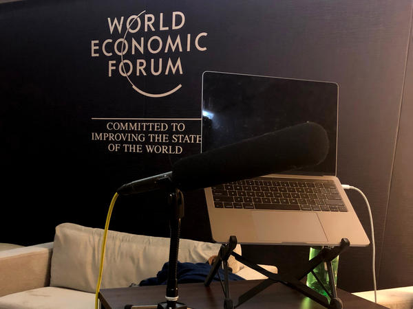 Gregory Warner's radio studio at Davos, Switzerland during the World Economic Forum last week.