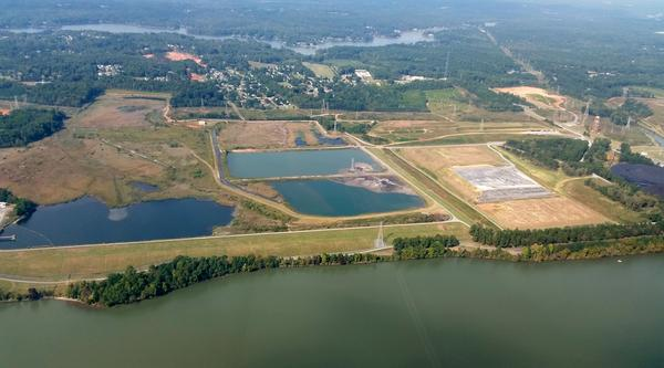 Coal ash is stored in two basins (left) near the Allen Steam Station in Belmont.