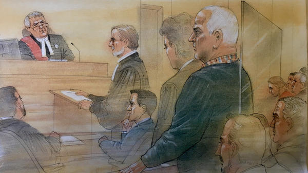 Bruce McArthur pleaded guilty to killing eight men between 2010 and 2017. He is seen here standing in a blue sweater (right) in a sketch made by a courtroom artist in Toronto.