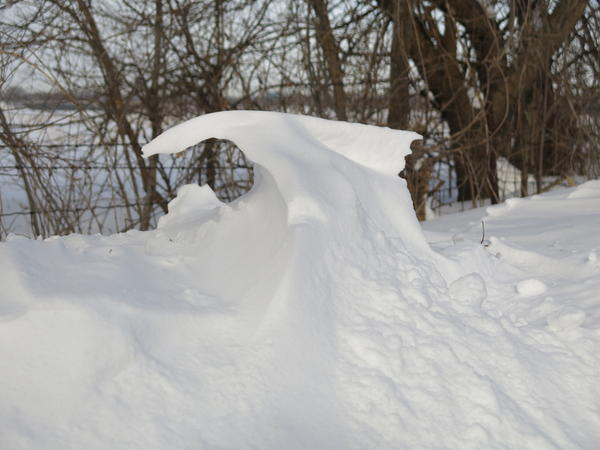 Nature created this abstract snow sculture in rural Rock Island County.