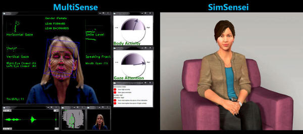 Ellie (right) is a computer simulation designed to engage real people, like the woman on the left, in meaningful conversation and take their measure. The computer system looks for subtle patterns in body language and vocal inflections that might be clues to underlying depression or other emotional distress.