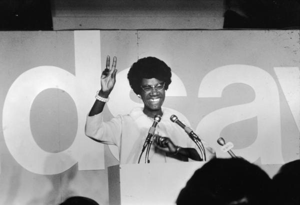 African-American educator and newly elected U.S. Rep. Shirley Chisholm gives the victory sign on election night 1968.